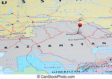 Astana pinned on a map of asia Photo of pinned astana on a stock