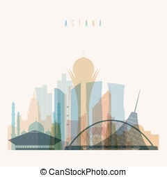 Astana skyline detailed silhouette.