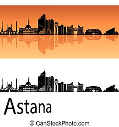 Astana skyline in orange background