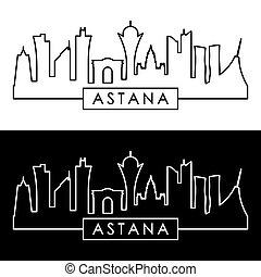 Astana skyline. Linear style.