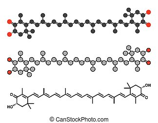 Astaxanthin pigment molecule. Carotenoid responsible for the pink-red color of salmon, lobsters and shrimps. Used as food dye (E161j) and antioxidant food supplement.