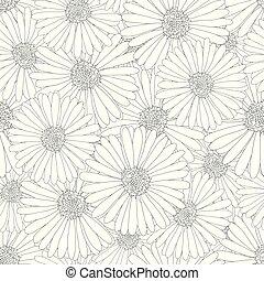 Aster, Daisy Flower Outline Seamless Background