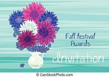 aster floral decorative vector illustration. autumn chrysanthemum in vase flower design element.  fall blossom in violet colors motif.
