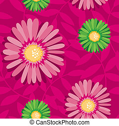 Aster flower contrast seamless pattern