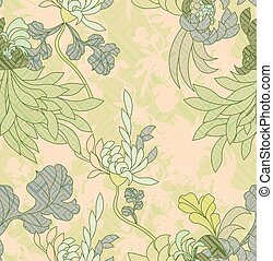 Aster flower light green with geometric pattern