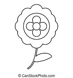aster flower natural outline