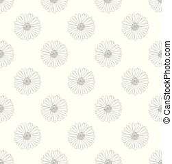 Aster Flower Seamless on White Background.