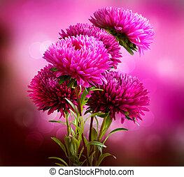 Aster Flowers Bouquet Art Design