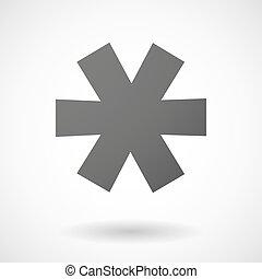 asterisco, gris, icono