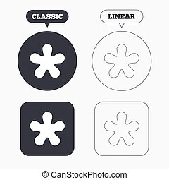 Asterisk round footnote sign icon. Star note symbol for more information. Classic and line web buttons. Circles and squares. Vector