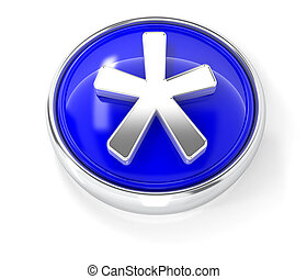 Asterisk icon on glossy blue round button