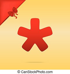 Asterisk star sign. Cristmas design red icon on gold background.