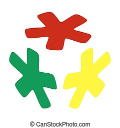 Asterisk star sign. Isometric style of red, green and yellow icon.