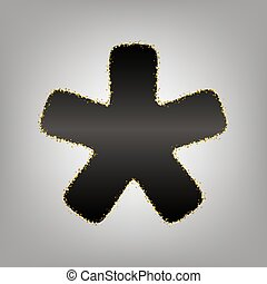 Asterisk star sign. Vector. Blackish icon with golden stars...