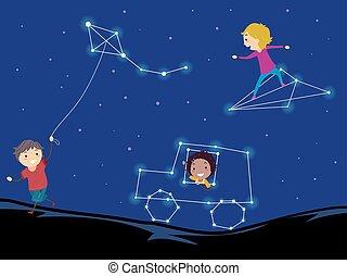 asterism, niños, stickman, juego, ilustración