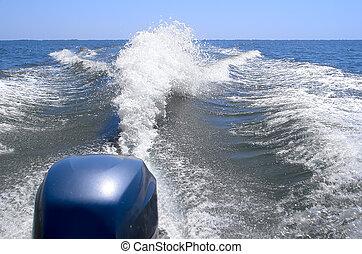 astern, bateau, vague
