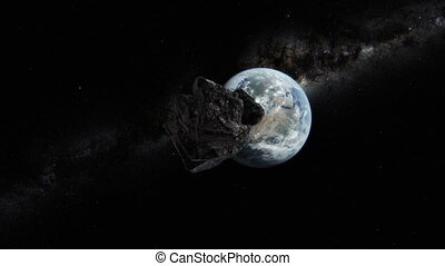 Asteroid approaching planet Earth. - 3D animation of an...