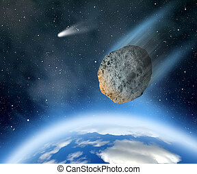 """Asteroid falling on Earth. """"Elements of this image furnished..."""