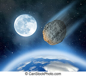 Asteroid falling on Earth.