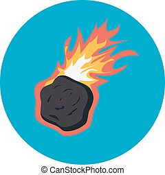asteroid falling vector with burning flame on blue...