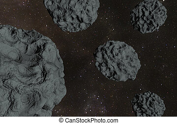 Asteroid field - An asteroid field in the deep cosmos