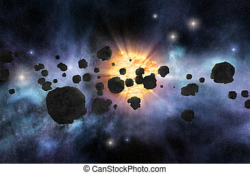 Asteroid field - Asteroid belt with bright star and nebulae...