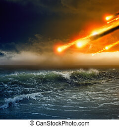Abstract dramaticc background - asteroid impact, meteorite impact, stormy sea, ocean