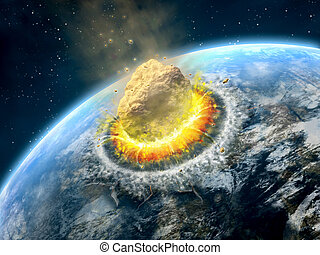Asteroid impact - Big asteroid crashing on the surface of an...