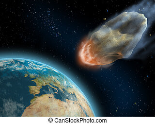 Asteroid impact - Asteroid about to impact on earth\'s...