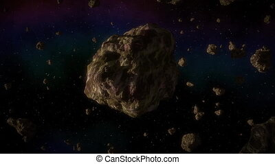 Asteroid in space generated video