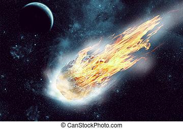 Asteroid in space - Asteroid flies in dark space