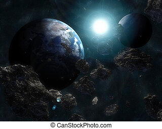 Asteroid infront of the earth - 3d rendered illustration of...