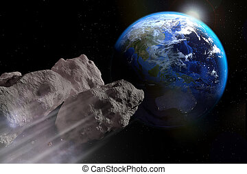 Asteroid is about to impact on earth's surface.