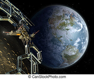 Asteroid mining space station in a near Earth orbit