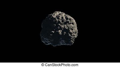 Asteroid or meteorite gyrating on black background -...