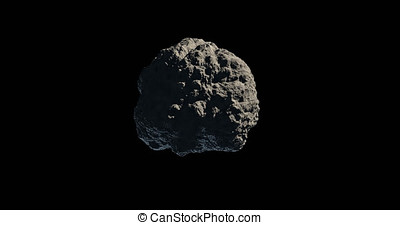 Asteroid or meteorite gyrating on black background