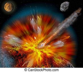 Asteroid strikes the moon. Planet dwarf Demeter