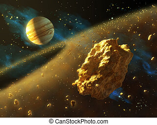 Asteroids belt in outer space, with Jupiter on background....