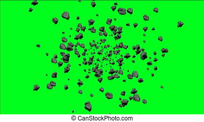 Asteroids Flying On Green Screen
