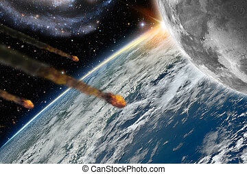 Asteroids flying over planet earth - Illustration of...