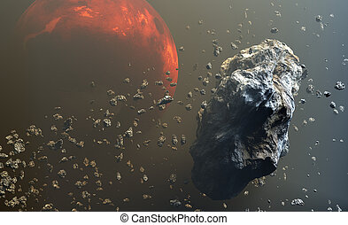 Asteroids or meteorites field in the outer space, formation...