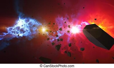 """""""Asteroids or Meteorites slowly move on the camera in a shinning nebula background. Science fiction fantasy animation background. """""""