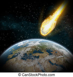 Asteroids over planet earth - Asteroids flying close to the...