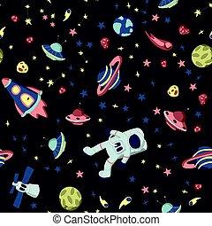 asteroids., set, illustration., ruimte, model, schepen, seamless, space., thema, vector, ruimtevaarder, sterretjes, planeet, gevarieerd, open, kosmos