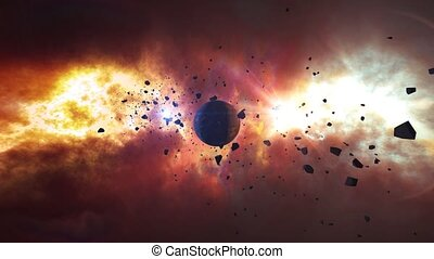 """""""Asteroids or Meteorites slowly move on the camera over abstract planet on a shinning nebula background. Science fiction fantasy animation background. Elements of this image furnished by NASA."""""""
