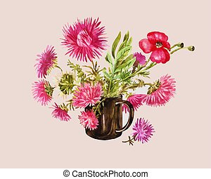 Asters and red poppy in the dark glass goblet. Watercolor illustration on the pink background