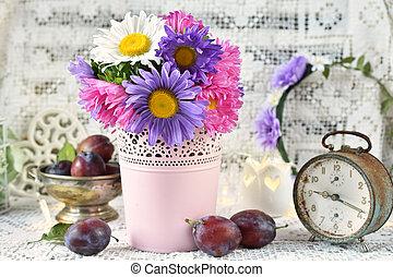 asters, csokor, kínai, színes, váza