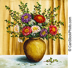 Asters in a clay pot