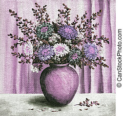 Asters in a pot, painting