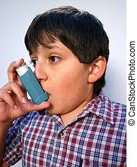 Asthma Attack - Boy using his ventolin inhaler